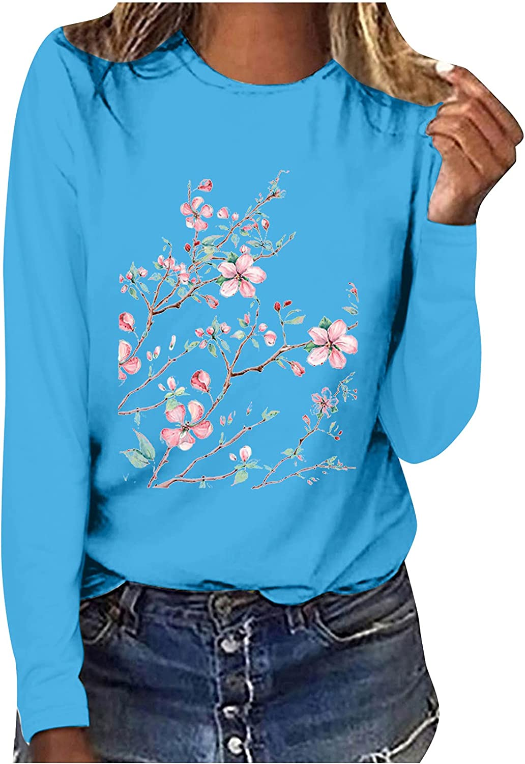 Women Floral Graphic Long Sleeve Tshirt Summer Blouses Printed Round Neck Loose Casual Workout Side Split Tunic Tops