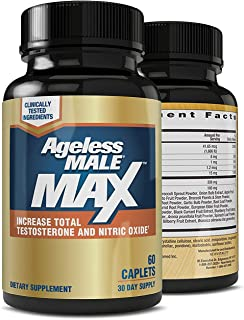 Ageless Male Max Total Testosterone & Nitric Oxide Booster for Men – Improve..