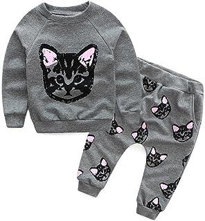 style_dress Baby Kleidung Set, Baby Kleinkind Kinder Mädchen Jungen Kleidung Langarm Katzen Print Trainingsanzug  Lange Hosen Outfits Spielanzug Set