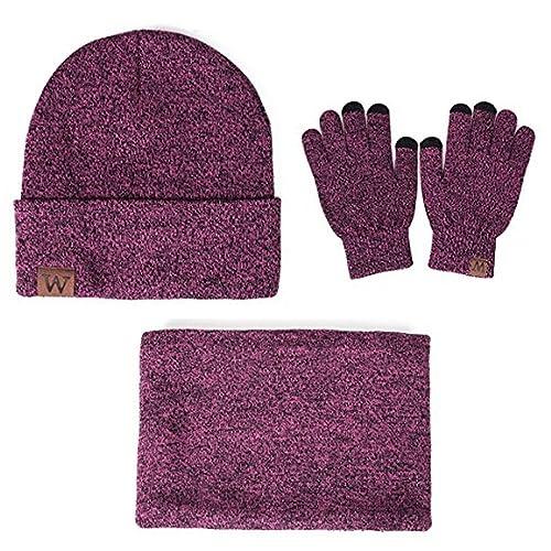 7f68161255c2 Winter Warm Beanie Hat + Scarf + Touch Screen Gloves