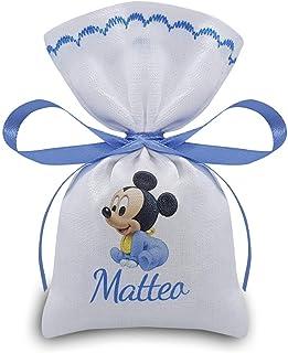 Crociedelizie, Stock 25 sacchetti bomboniere portaconfetti caramelle stampa disney baby topolino + nome bimbo nascita batt...