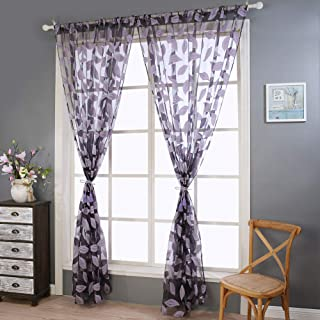 Sheer Curtains Panels for Livingroom,? Breathable Window Kitchen Shower Curtain 79x39 inch 2 Pcs,Beyonds Embroidery Leaf Ventilation Insulation Voile Treatment Patio Door Drapes