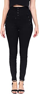 Cello Jeans Women High Rise Black Sailor Skinny Jeans with Exposed Button