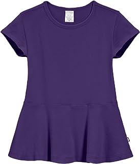 City Threads Big Girls' Cotton Short Sleeve Peplum Blouse Shirt School, Party