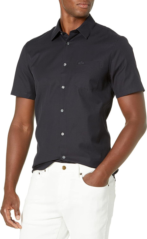 Lacoste Men's Short Sleeve Popeline Pique Regular Fit Woven Shirt