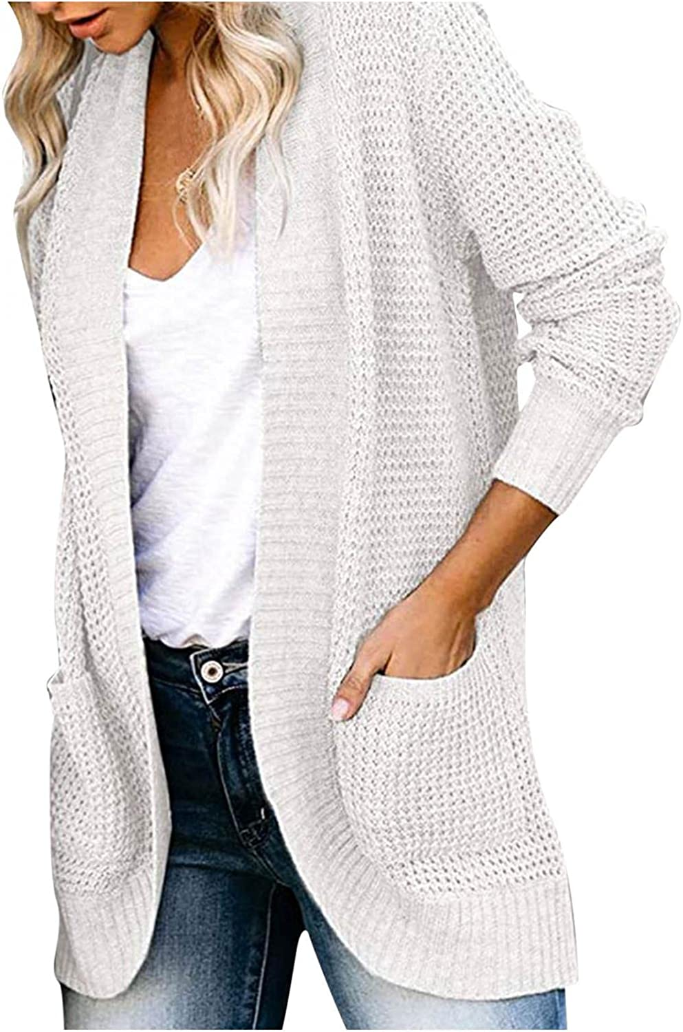 Cardigan Sweaters for Women,Womens Long Sleeve Open Front Cardigans Chunky Knit Draped Sweaters Outwear with Pockets