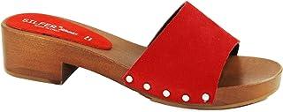 Silfer Shoes - Zoccolo in Vero Legno e Pelle di camoscio, Colore Rosso