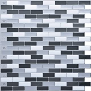 """Art3d 10 Sheets 12""""x12"""" Peel and Stick Tile Backsplash Extra Sticky, Mosaic Design in Black,Dark Gray, Med Gray and White for Kitchen, Bathroom"""