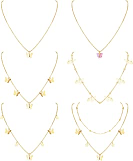 SAILIMUE 6Pcs Cute Butterfly Necklaces for Women Gold Plated Dainty Butterfly Choker Necklace Butterfly Layered Chain Neck...