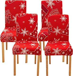 Ogrmar 4PCS Stretch Removable Washable Dining Room Chair Protector Slipcovers Christmas Decoration/Home Decor Dining Room ...