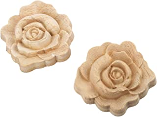 MUXSAM 2pcs 7x7cm Wood Carved Corner Onlay Applique Door Cabinet Rose Unpainted European Style