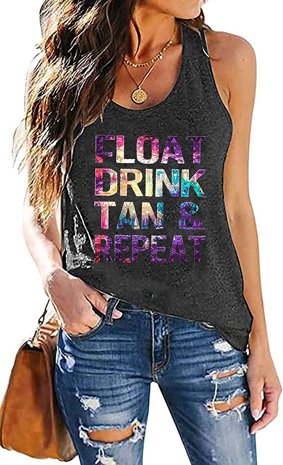 Women's Float Be super welcome Drink TanRepeat Tank S Colorful Print Letter Tops Free shipping anywhere in the nation