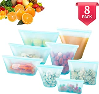 8 Pack Reusable Silicone Food Bag, BPA Free for Fruit/Snack/Vegetables, Microwave Dishwasher and Freezer Usable (Blue)