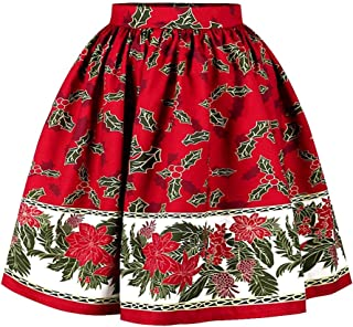 Shin Fashion Womens Christmas Midi Skirt High Waisted Ealsitc Knee Length Pleated Party Skirts