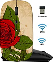 MSD Wireless Mouse 2.4G Travel Mice with USB Receiver, Noiseless and Silent Click with 1000 DPI for Notebook PC Laptop Computer MacBook Black Base Vector Vintage Floral Background with red Rose Image