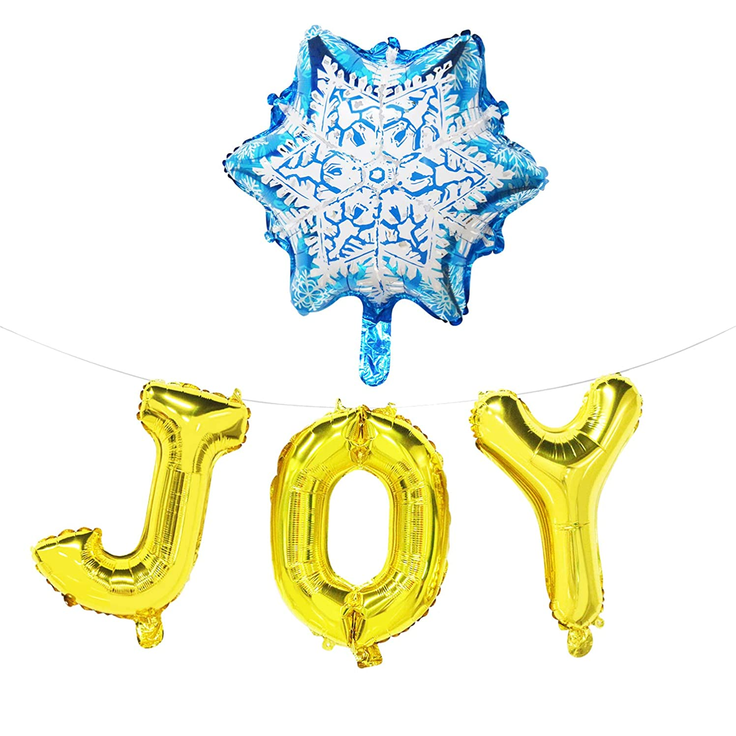Joy Balloon Banner with Snowflake - Christmas Party Decorations Rose Gold - Holiday Signs Decor Hanging - 16inch