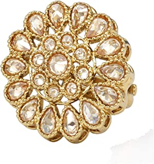 Indian Traditional Antique Bollywood Adjustable Reverse AD Stone Ring Women Wedding Jewelry