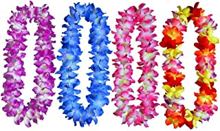 Idealgo pack of 4 Luau Silk Flower Leis Necklaces Tropical Island Beach Theme Party Event Supplies Hawaiian Silk Flower Leis Novelty Luau Hula Party Supplies ACC