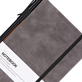 Grid Paper Notebook - Bangma A5 Hardcover Classic Notebook with Pen Holder & Inner Pocket - Premium Thick Paper + Page Dividers Gifts,Bound Notebook Large(8.5 x 5.9 In)