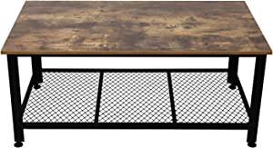 IRONCK Industrial Coffee Table for Living Room Cocktail Table with Storage Shelf, Wood Look Accent Furniture with Metal Frame, Rustic Home Decor, Rustic Brown
