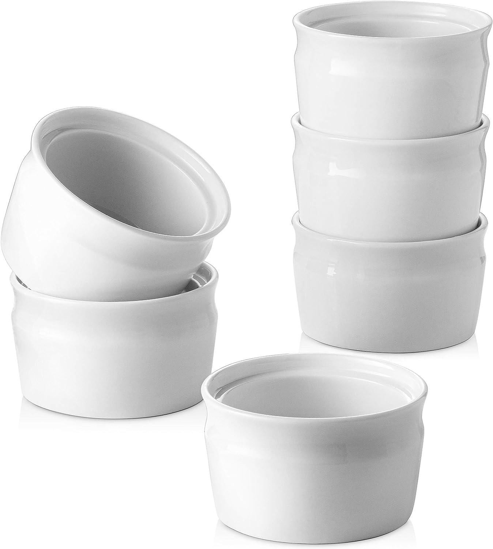 Oven Safe Souffle Ramekins for Creme Brulee Pudding ZONESUM Porcelain Ramekins Bowls 8 Oz Durable /& Versatile Ceramic Ramekins Dishes for Baking Small Dessert Bowls Navy Blue Set of 6