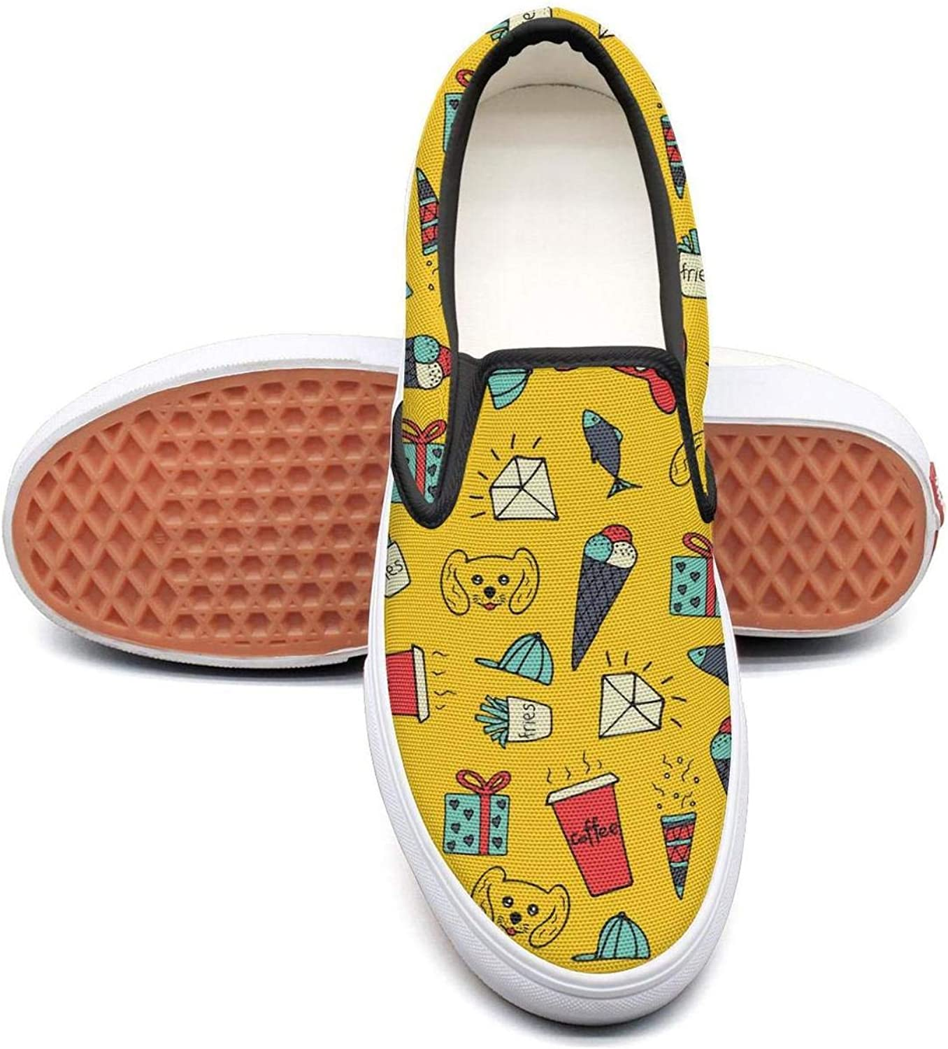 Yellow Cute Cartoon Diamond Slip On Rubber Sole Loafers Canvas shoes for Women Casual