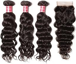 Nadula Brazilian Virgin Hair With Closure Natural Wave Hair Bundles With 4×4 Free Part Lace Closure 8A Brazilian Natural Wave Weave Cheap Remy Human Hair Entension Natural Color (16 18 20+14 Closure)
