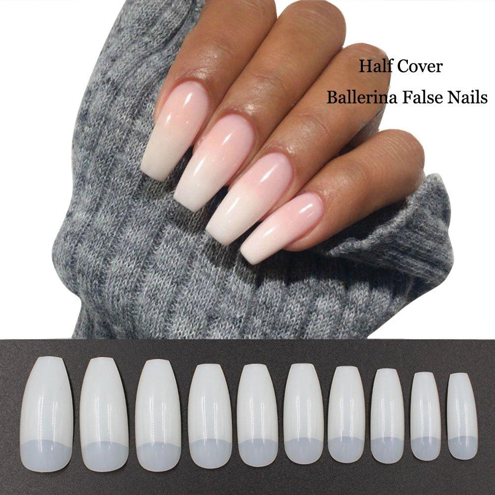 Amazon Com Agutiun 500pcs Coffin Nails Half Cover Press On Nails Ballerina Nail Tips False Artificial Acrylic Nail Natural Beauty