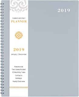 """2019 Monthly Planner - 2019 Planner with TABS & Pocket & Label, Contacts and Passwords, Thick Paper, Twin-Wire Binding, 8.5"""" x 11"""" - Gray by Artfan"""