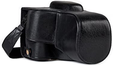 Megagear MG1192 Canon EOS Rebel T7i, 800D, Kiss X9i, 77D, 9000D (18-55mm) Ever Ready Genuine Leather Camera Case & Strap with Battery Access, Black