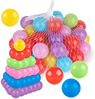 Coogam Pit Balls Pack of 50 - BPA Free 6 Color Hollow Soft Plastic Ball for 1 2 3 Years Old Toddlers Baby Kids Birthday Pool Tent Party Favors Summer Water Bath Toy (6CM)