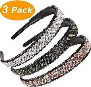 LONEEDY 2cm Wide Full Rhinestone and Crystal Teeth Comb Headbands For Women, 2cm Non-slip Hard Headbands (Silver+Color+Dark green)