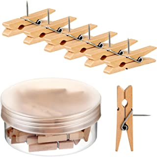 36 Pieces Wooden Clips Push Pins Clips Pushpin Tacks Wooden Crafts Pins for Cork Boards Crafts Arts Projects Photo Supplies