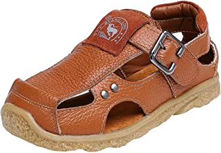 DADAWEN Boy's Girl's Athletic Summer Leather Outdoor Closed-Toe Strap Sandal(Toddler/Little Kid/Big Kid)