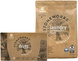 Grab Green Stoneworks Laundry Detergent Pods and Dryer Sheet Kit, Powered by Naturally-Derived Plant & Mineral-Based Ingredients, Oak Tree, 50 Loads