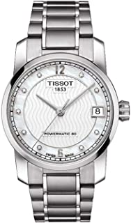 Tissot - T-Classic Reloj automático de señoras de titanio con esfera de perla T0872074411600