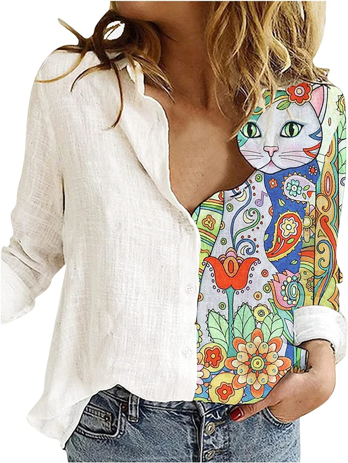 Shirts for Womens Cotton Linen Long Sleeve Blouse Casual Button Down Tunic Tops Funny Cat Pattern Fall Winter Tops