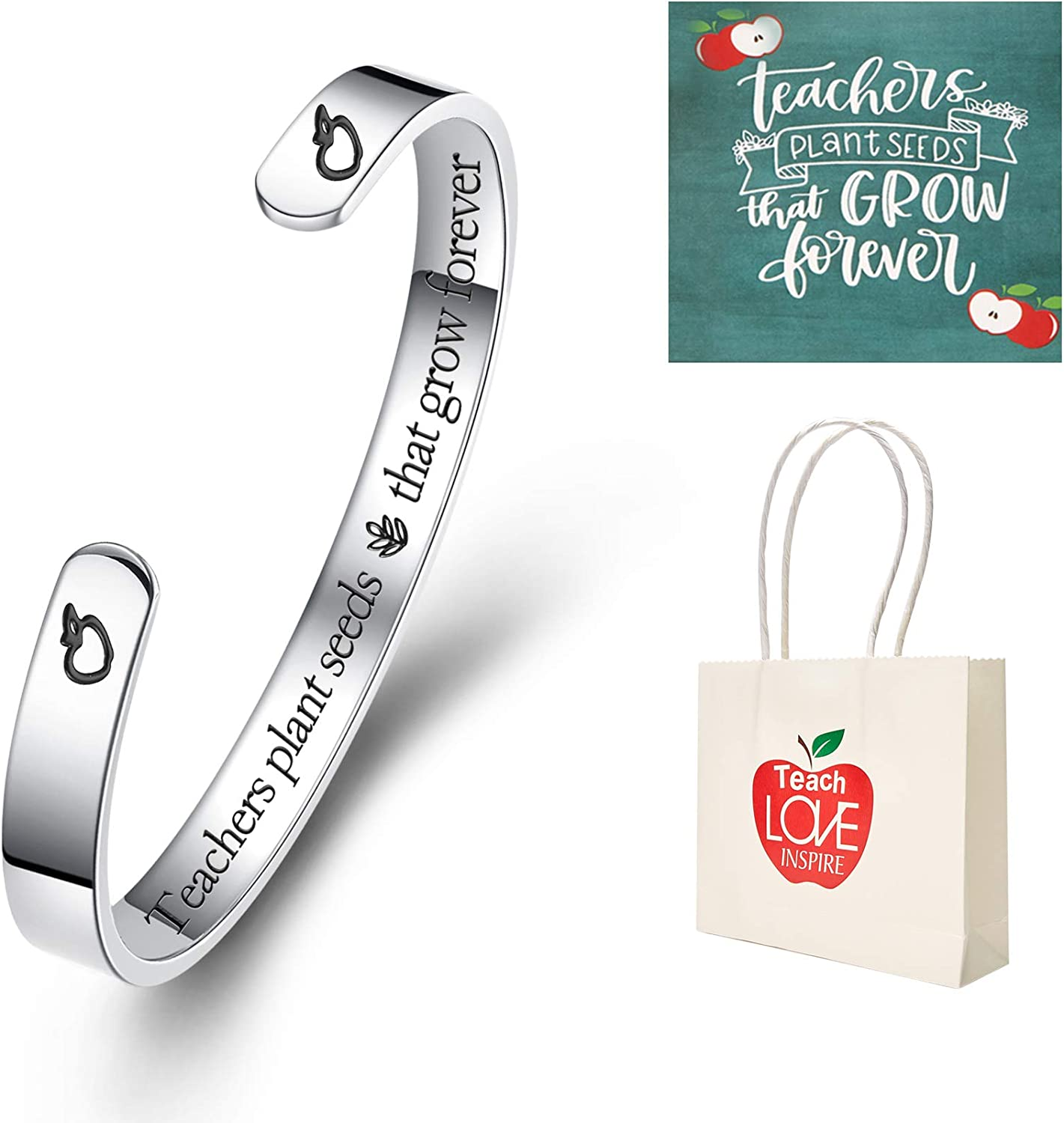 Firsteel Graduation Bracelets 2020,Inspirational New Grad Jewelry Gift Ideas, Graduation Bangle Cuff for her,him(with Graduation Gift Box and Card)