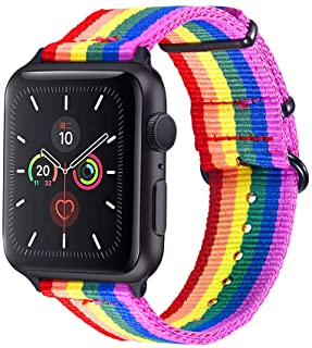 Bandmax Compatible Rainbow Apple Watch Bands LGBT, Comfortable&Durable Sport Straps Nylon Replacement Wristband Accessorie...