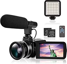 """4K Camcorder TYCKA Ultra HD Camcorder Video Camera with Microphone LED Fill Light for YouTube Vlogging 18X 30MP 3.0"""" IPS T..."""