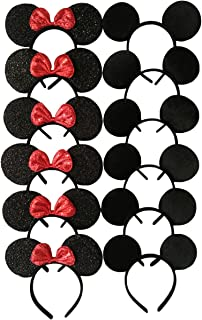 (Pack of 12) - Mickey Mouse Ears Solid Black and Bow Minnie Headband for Boys and Girls Birthday Party or Celebrations (Pa...