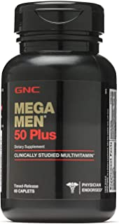 GNC Mega Men 50 Plus Daily Multivitamin for Men, 60 Count, Supports Memory Function, Prostate, and Heart Health