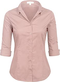 51d2c3e3955ca6 KOGMO Womens Classic Solid 3/4 Sleeve Button Down Blouse Dress Shirt (S-