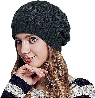 Glamorstar Unisex Cable Knitt Hat Winter Warm Thick Braided Beanie Slouchy Ski Cap