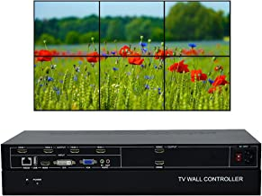 ISEEVY 6 Channel Video Wall Controller 2x3 3x2 HDMI DVI VGA USB Video Processor with RS232 Control for 6 TV Splicing