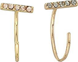 Rebecca Minkoff - Pave Bar Baby Threader Hoop Earrings