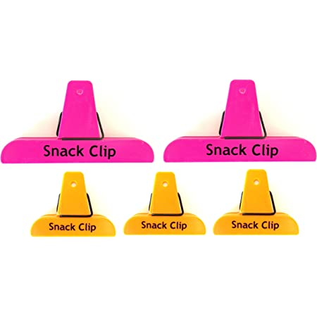 5pc ALAZCO Neon Colors Value Set Clips, 2 Large & 3 Small Bag Chips Clips SNACK Bar Party Kitchen Pantry Sturdy Spring Clip