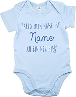Striefchen hellblauer Babybody mit Namen 3-6 Monate - ich Bin neu Hier - ideal als Babygeschenk