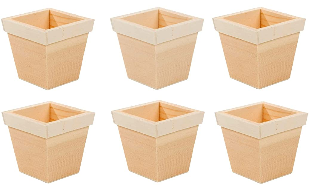 Creative Hobbies 3 inch Tall Unfinished Wooden Flower Pots, Pack of 6, Ready to Paint Or Decorate
