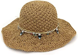 Songlin @ yuan 100% Handmade Women's Straw Bucket Hat Summer Lady Dome Beach Sun Hat Size: 56-58cm (Color : Coffee, Size : 56-58CM)